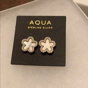 Aqua Sterling Silver GoldTone Flower earrings w/CZ
